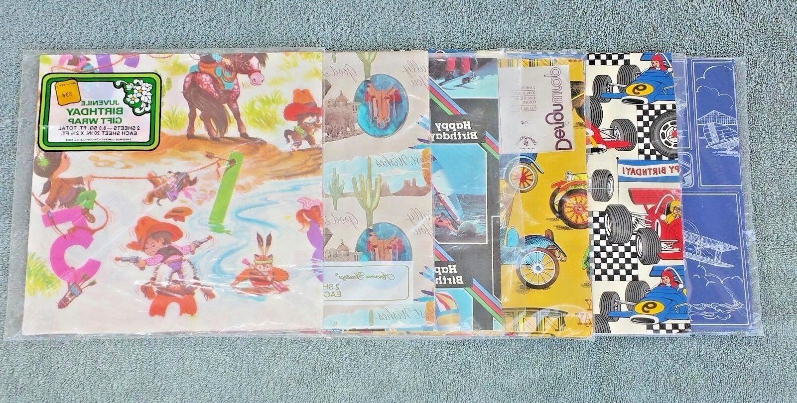 1970s Wrapping Paper Lot Boys Birthday Cowboys Cars Sports P