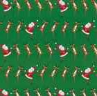 Caspari 2 / 8 ft Rolls Christmas Can Can Green Gift Wrap / W