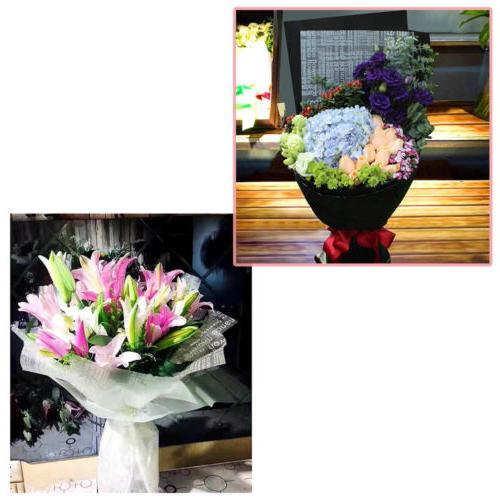 22.75x22.75in Clear Frosted w/ Colorful Flower Wrapping