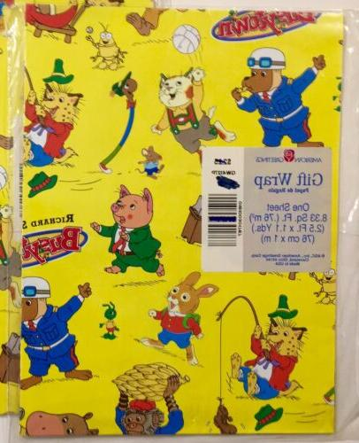 2 PKS VTG GIFT WRAP WRAPPING PAPER