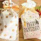 50x White Merry Christmas Candy Cookie Bags Gold Dots Gift B