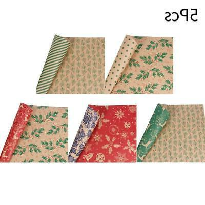 5pc Christmas Wrapping Paper Roll Kraft Gift Wrapping Paper
