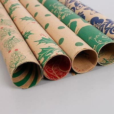 5pcs Christmas Wrapping Paper Roll Kraft Gift Package Paper