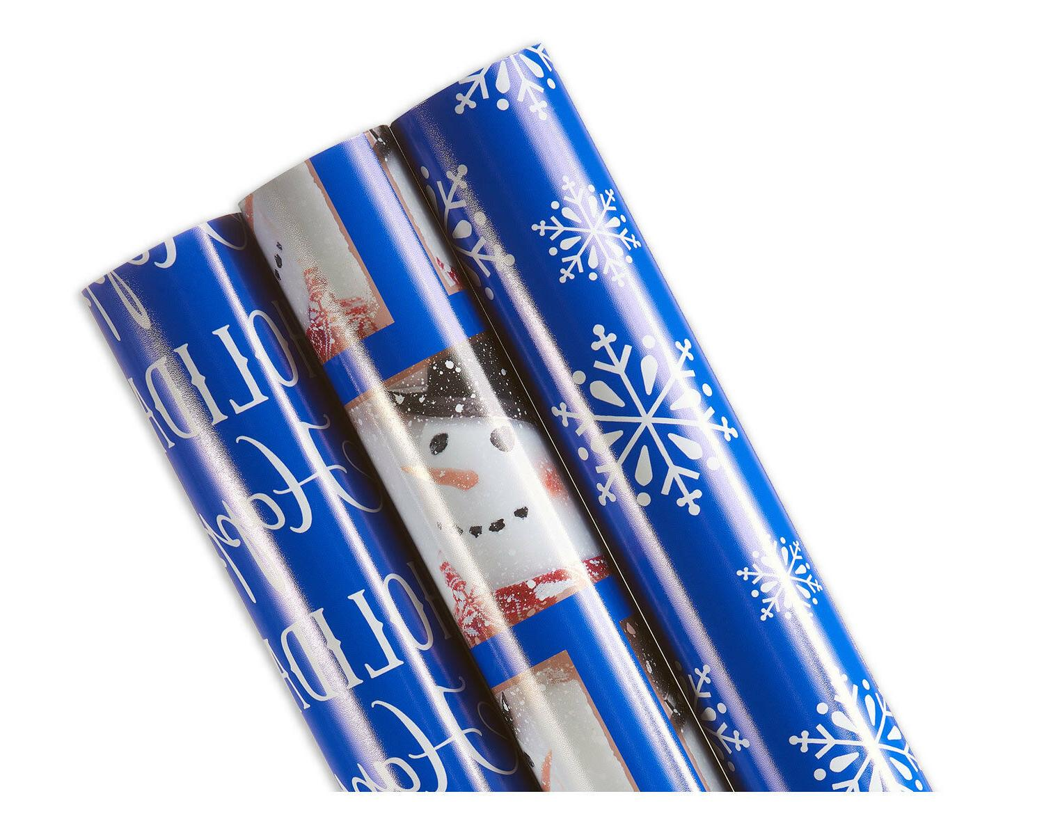 "Christmas Wrapping Paper, 3-Roll, ""Happy Holidays""/Snowman/S"