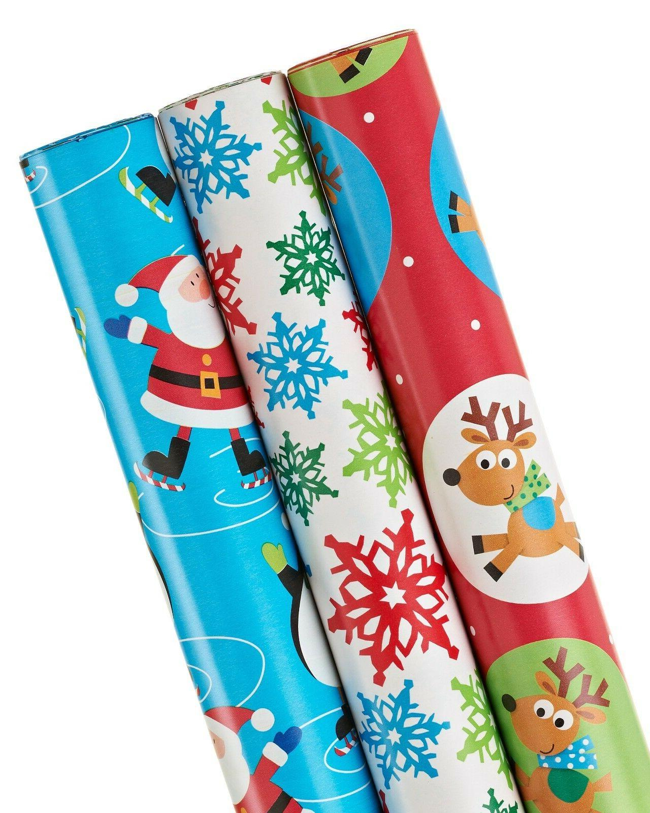 Christmas Wrapping Paper, 3-Roll, Santa, Christmas Character