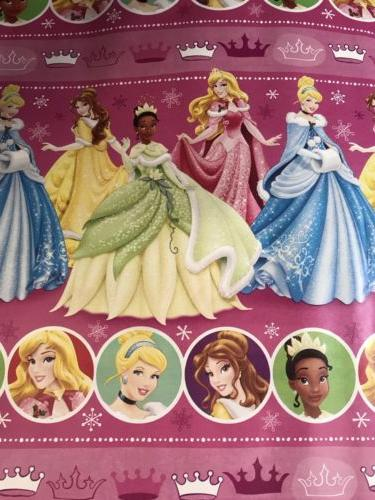 Disney Princess Pink Christmas Wrapping Paper, 60 sq ft Holi
