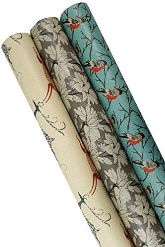 K-Kraft Elegant Printed Kraft Wrapping Paper (Snowbirds-Deer