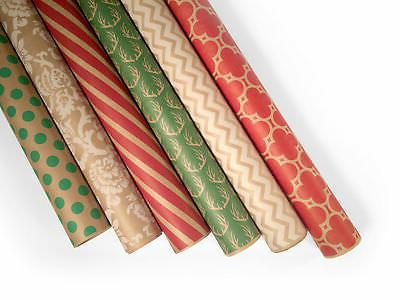 "Kraft Holiday Wrapping Paper - 6 Rolls - 6 Patterns - 30"" x"
