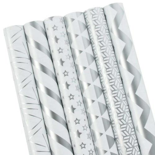 LaRibbons Gift Wrapping Paper Roll - Silver Print for Birthd