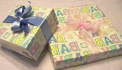 Lot 24 pc Baby Gift Wrap/Wrapping Paper Boy Girl Alphabet Pi