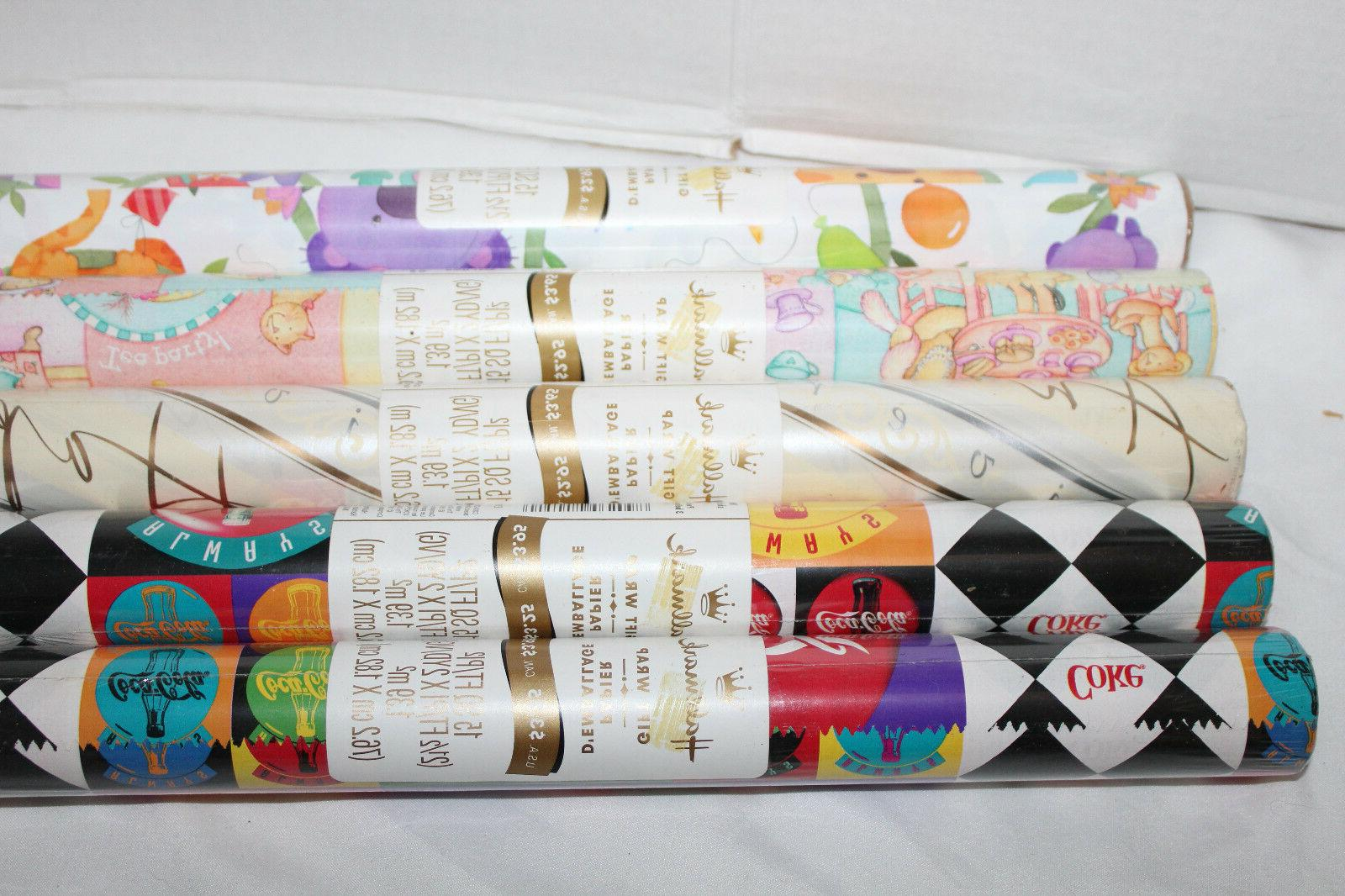 Lot of 5~Vintage~HALLMARK~Gift Wrap~ROLLS of WRAPPING PAPER~