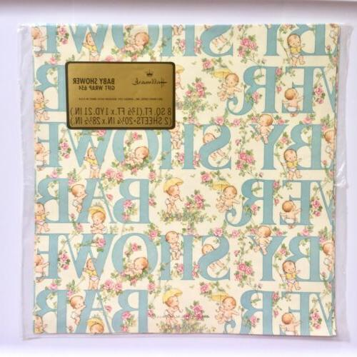 NEW! Vintage Hallmark Baby Gift Wrap Baby Shower Boy Girl Wr