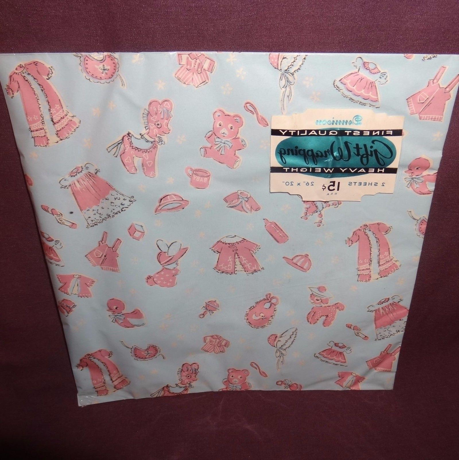 Vintage Wrapping Paper Dennison Sheets Boy Old