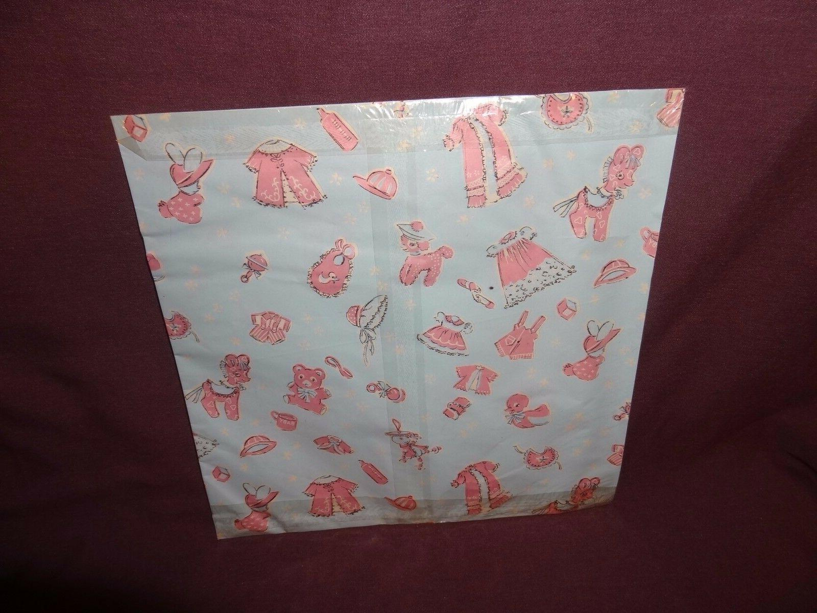 Vintage Gift Wrapping 2 Sheets Boy Girl Old