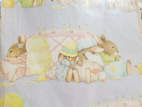 Vintage Bunny Rabbit Birthday Gift Wrapping Paper 2 Sheets H