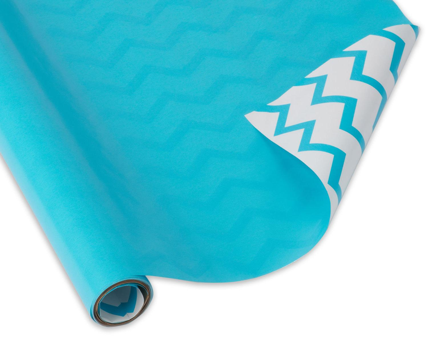 Wrapping Paper, Reversible Aqua with Chevron Stripes