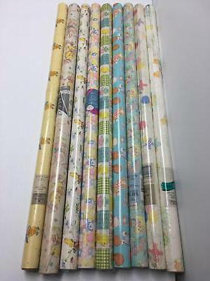 Wrapping Paper Rolls Lot of 9 Baby Theme Shower Little One B