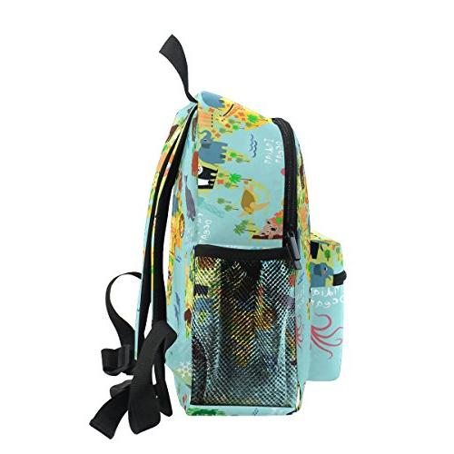 Age Map With Animals Toddler Backpack, Children Travel Rucksack for