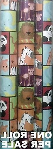 Animal Zoo Wrapping Paper for Childrens Gifts - 20 Square Fe