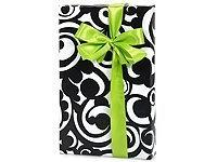 Black & White BOLD SCROLL Damask Gift Wrapping Paper - 16 Fo