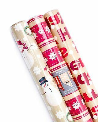 brand new christmas reversible wrapping paper merry