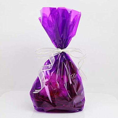 Cellophane Wrap 100'Ft Purple Mylar Sheet Cellophane Roll Wrapping Paper for Craft