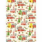 Christmas Village Wrapping Paper Sheet Vintage Style Gift Wr