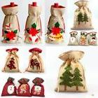 Christmas Xmas Hessian Fabric Gift Bag Pouch w Drawstring S