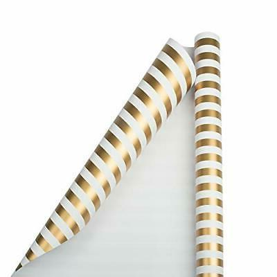 Gold & White Stripe 30 sq ft. Jumbo Striped Wrapping Paper R