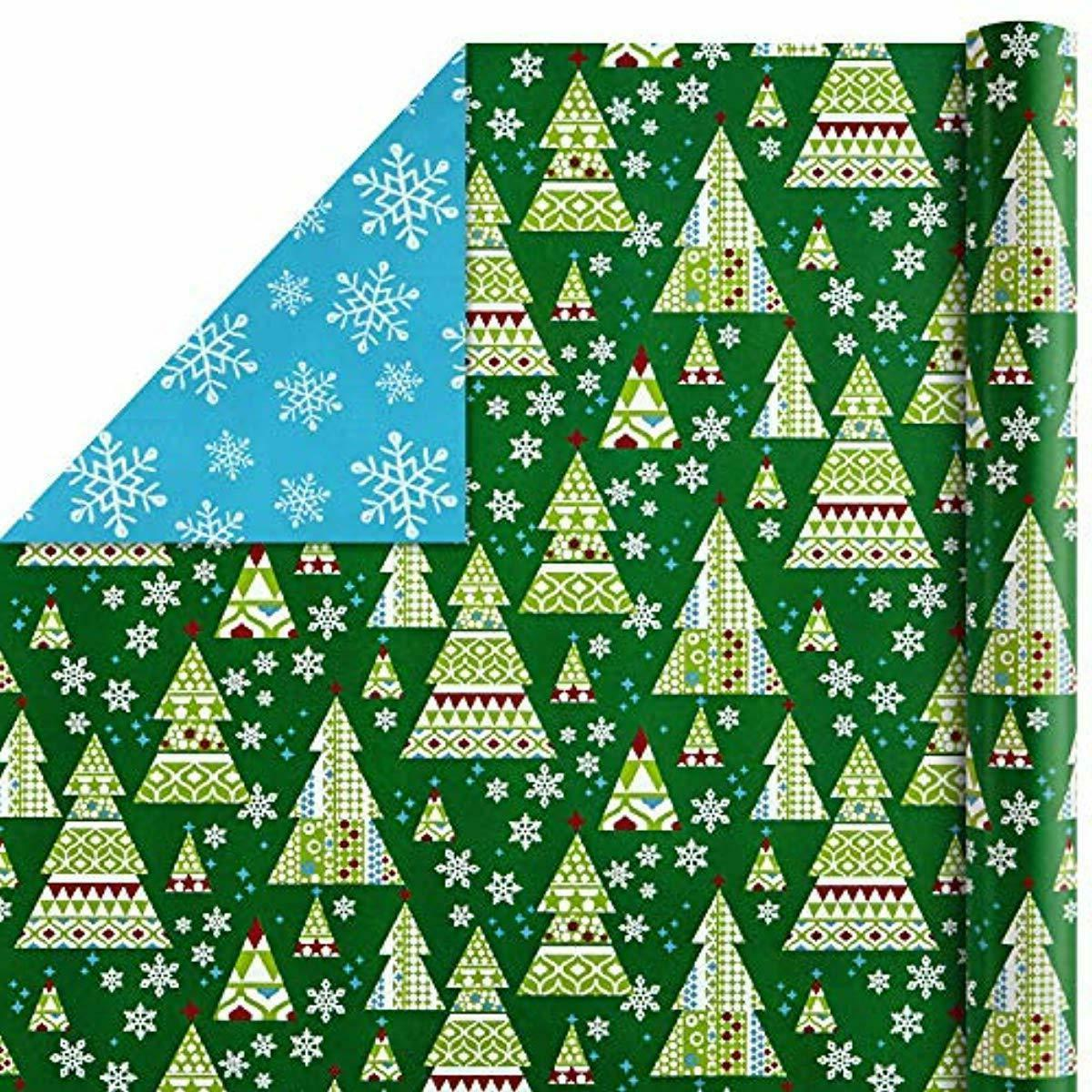 Hallmark Reversible Wrapping Paper Bundle, Trees of
