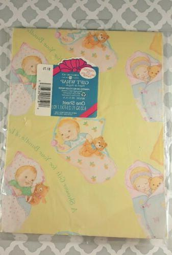 HALLMARK Wrapping Paper GIFT WRAP Baby Shower GIRL OR BOY NI