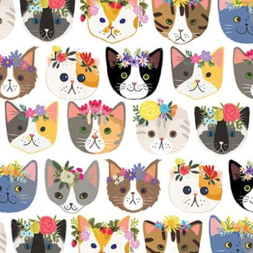 "Hippie Kitty Wrapping Paper Flat Sheet - 24"" x 6'"