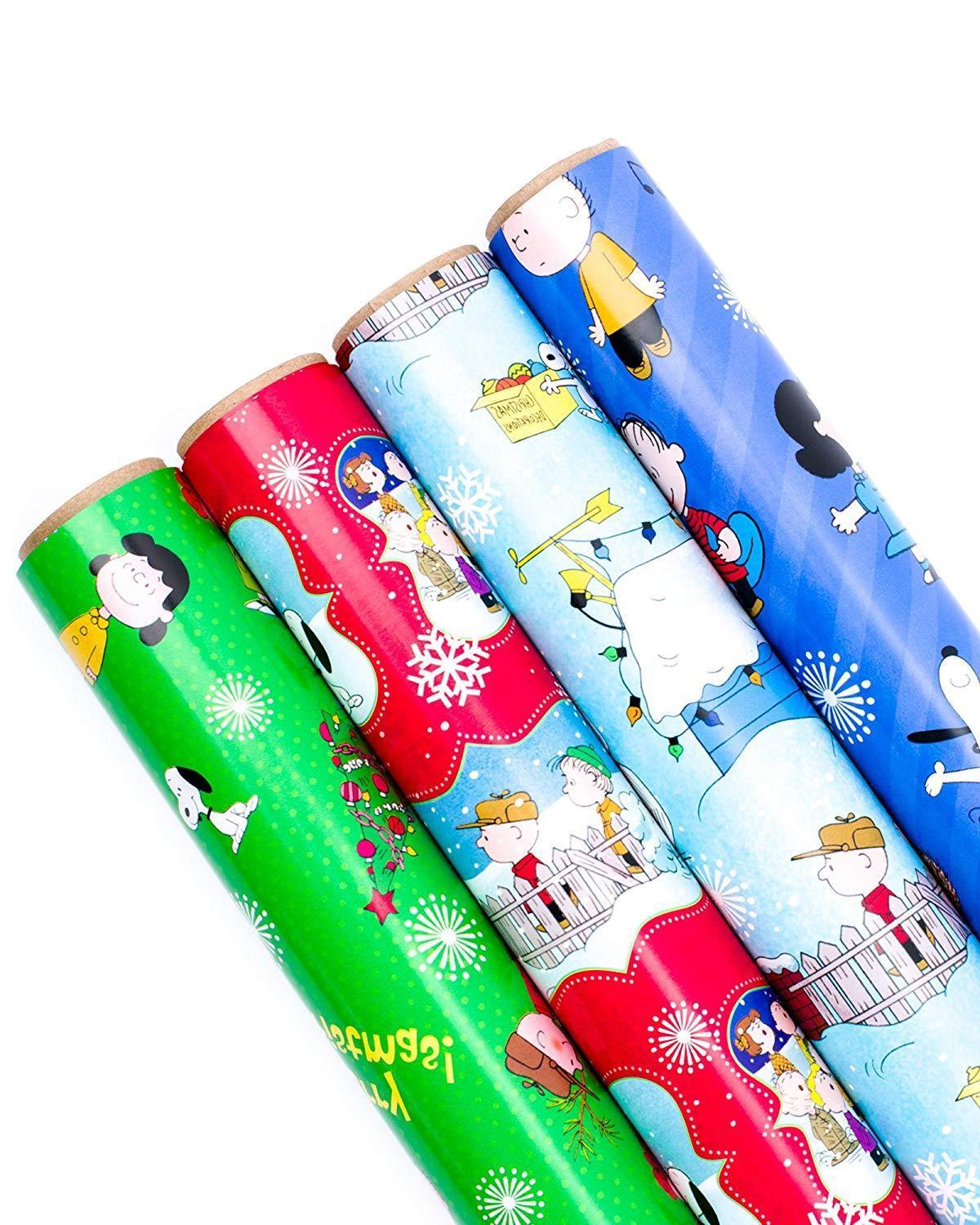 holiday wrapping paper bundle cut lines on