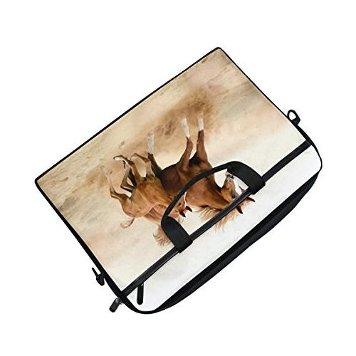 Horse Pattern Inch Laptop Shoulder Bag with Handle for Women