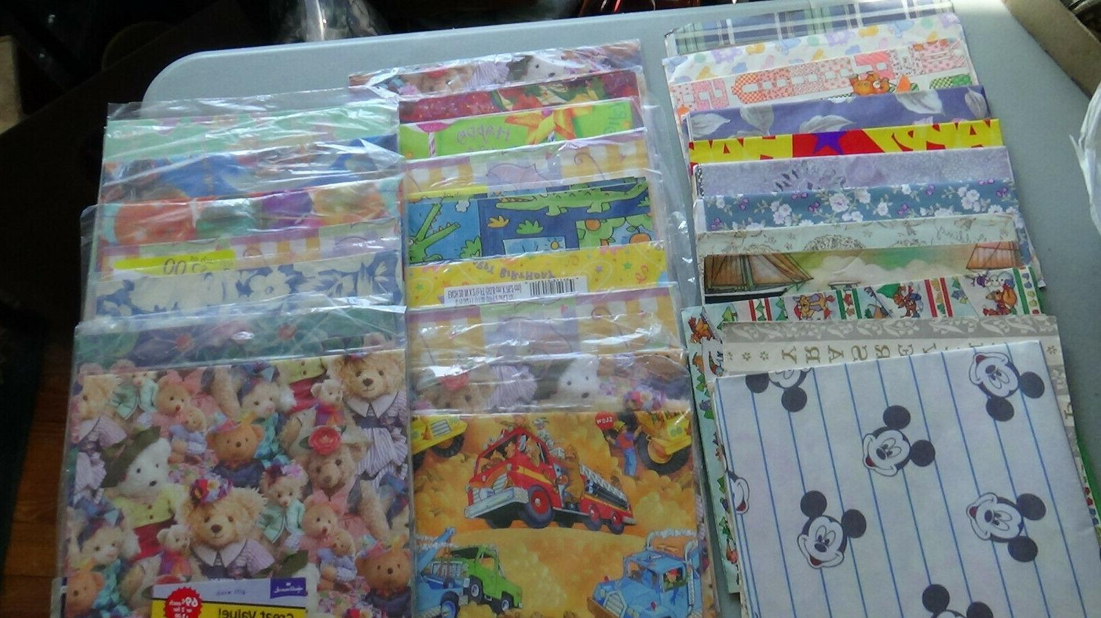 HUGE LOT Vintage Gift Wrap Wrapping Paper Tags Flat Sheets N