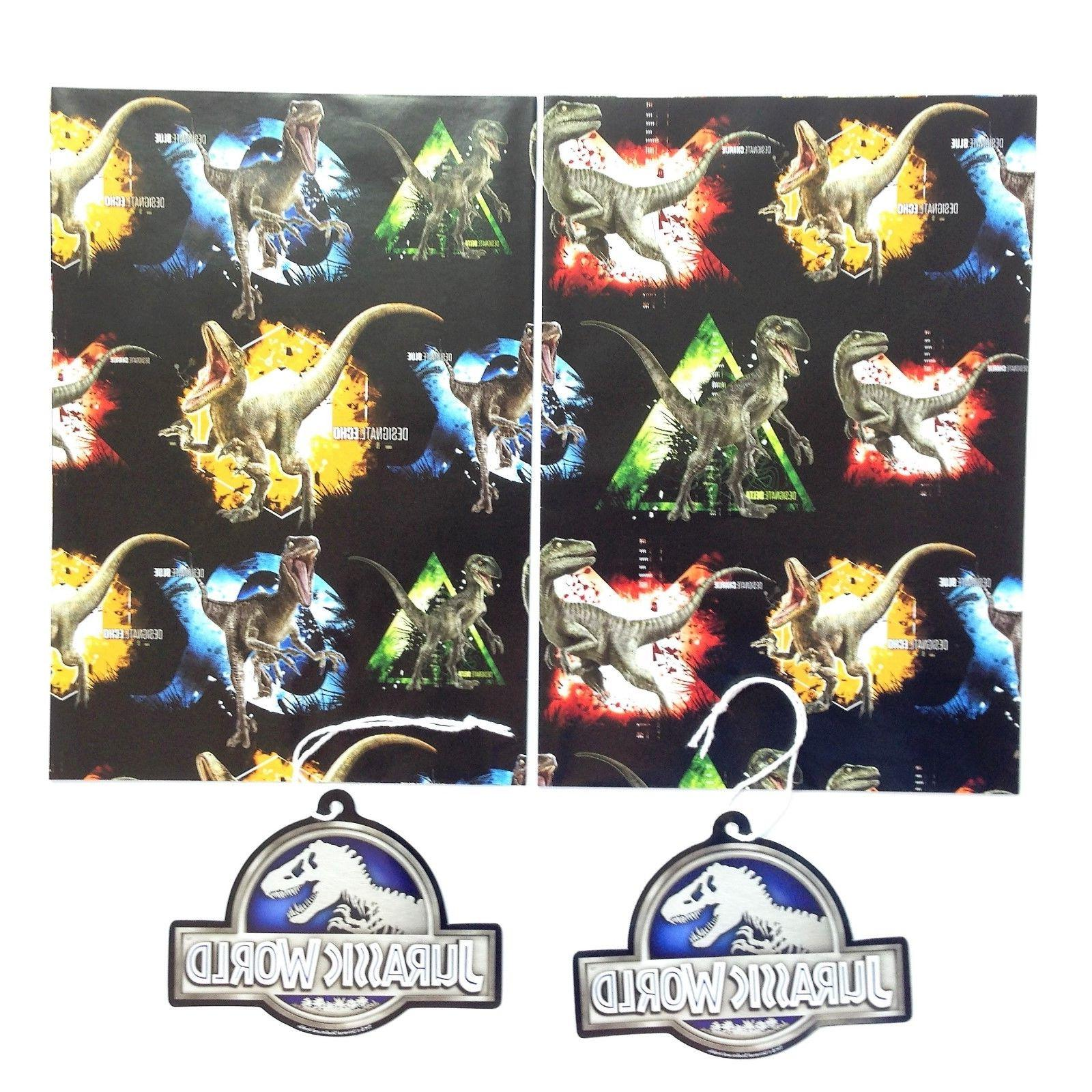 Jurassic Park World Velocoraptor Dino Gift Wrap Wrapping Pap