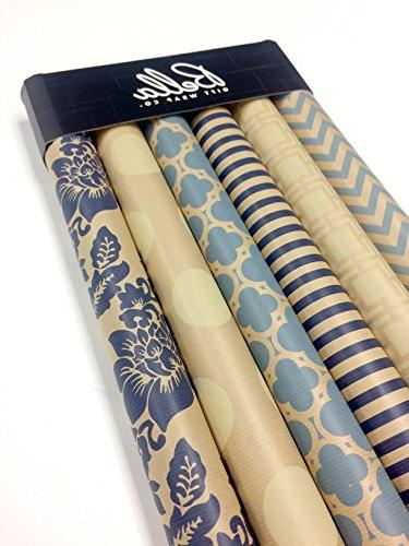 "Kraft and Cream Wrapping Paper Set 6 Rolls Patterns 30"" 120"" Roll"
