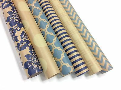 Kraft Blue and Cream Wrapping Paper - 6 Rolls - 6 Patterns -