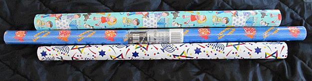 lot 3 rolls of hanukkah gift wrapping
