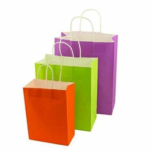 Matte Assorted Solid Colors Kraft Paper Gift Bags BULK LOT W