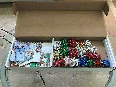 Mixed Lot of Christmas Holiday Gift Wrap Rolls Bows Bags Wra