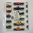 NEW Vintage Trucks Flat Gift Wrap 2 Sheets 8.33 sq ft Americ