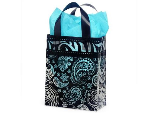 paisley flourish frosted plastic shopper