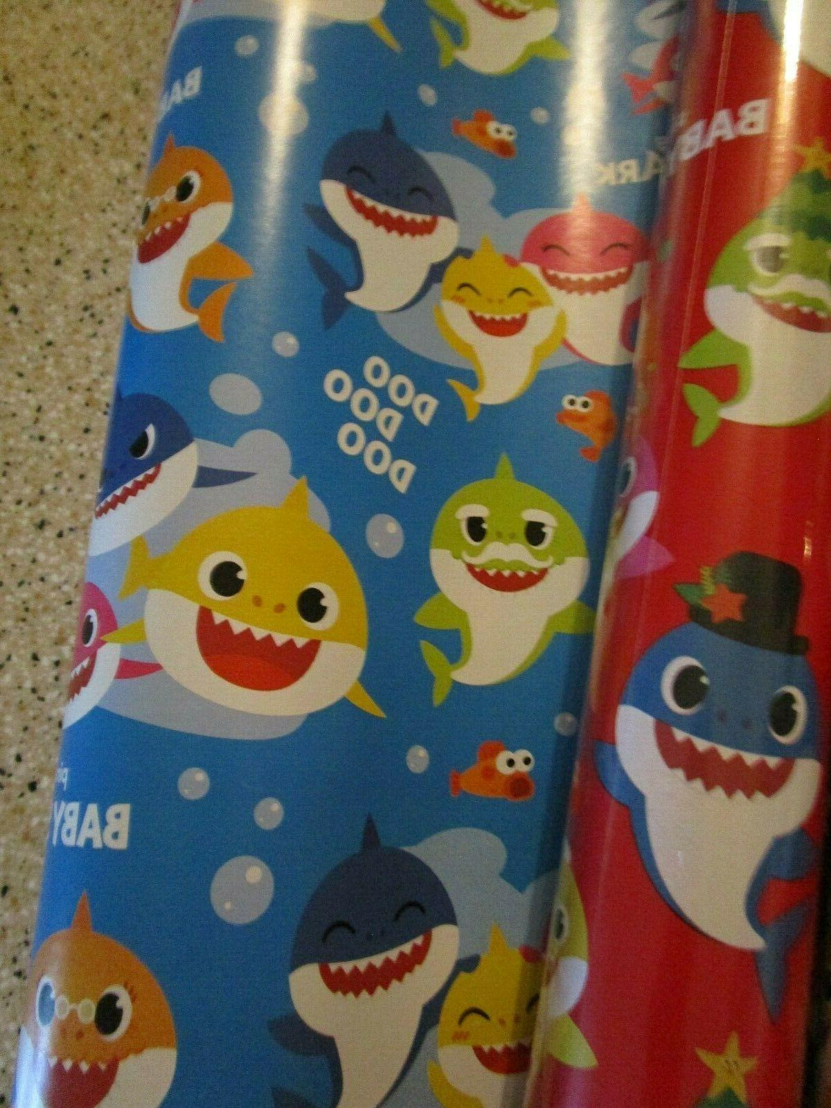 PINKFONG SHARK ROLLS WRAPPING PAPER 70 SQ 1 RED BLUE