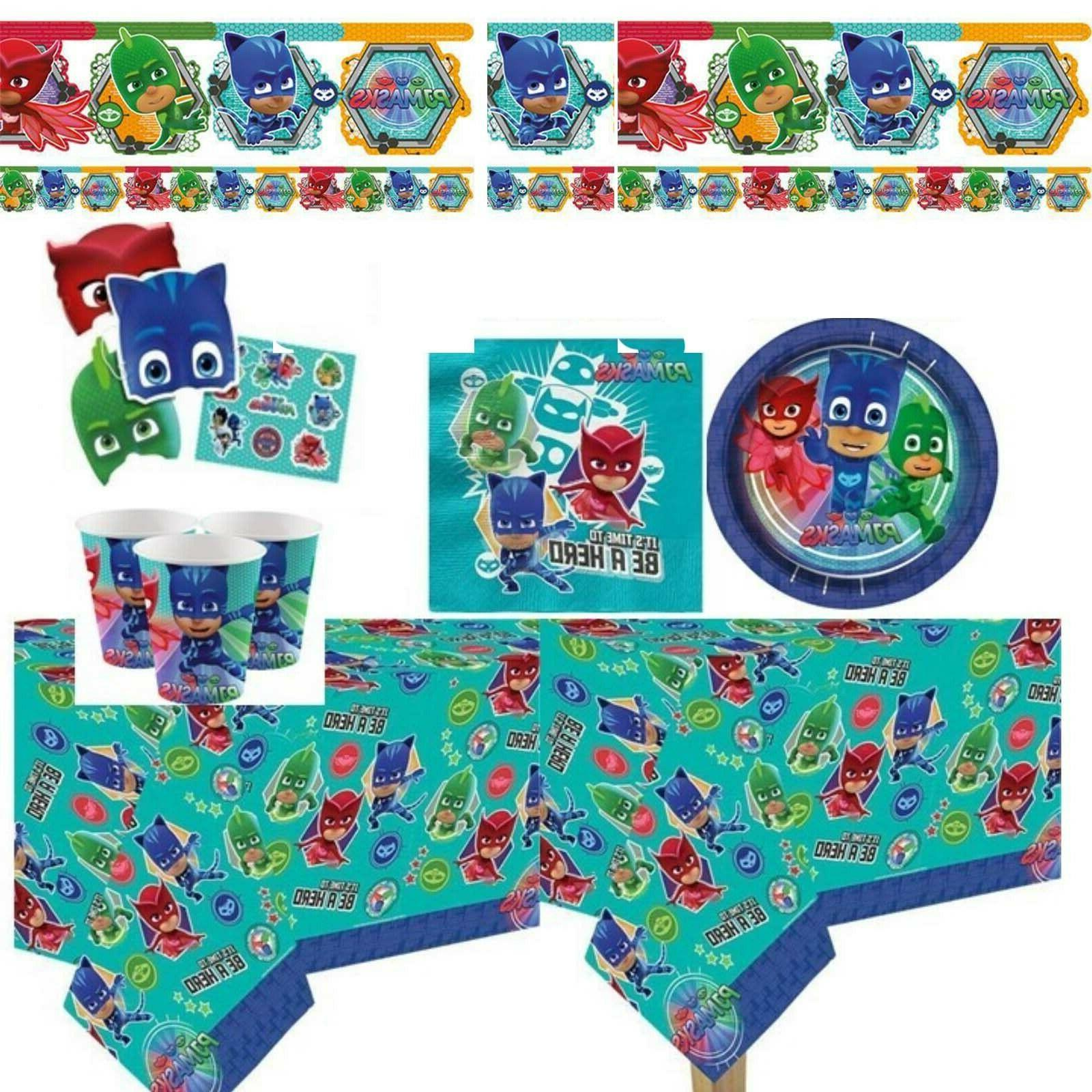 PJ Masks party tablecover plates cups masks stickers balloon