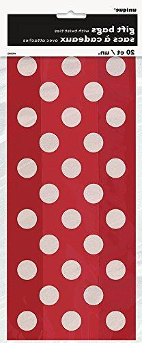 Red Polka Dot Cellophane Bags, 20ct