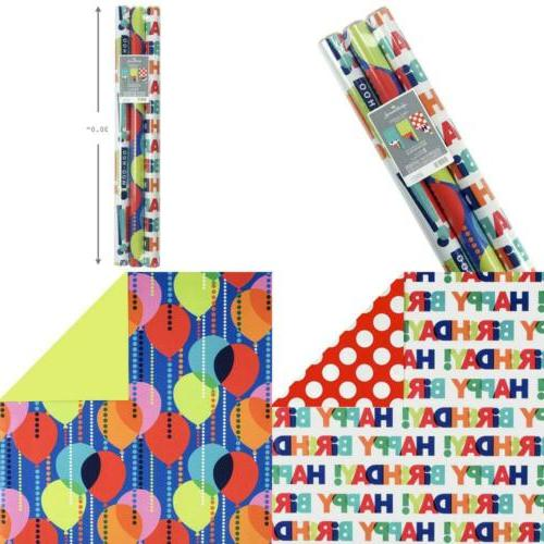 reversible birthday wrapping paper balloons pack of
