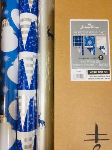 reversible christmas wrapping paper bundle blue