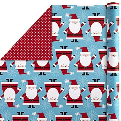 Hallmark Christmas Wrapping Paper Bundle, Santa Trees Pack