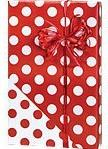 Reversible RED & WHITE POLKA DOTS Christmas Gift Wrap Wrappi